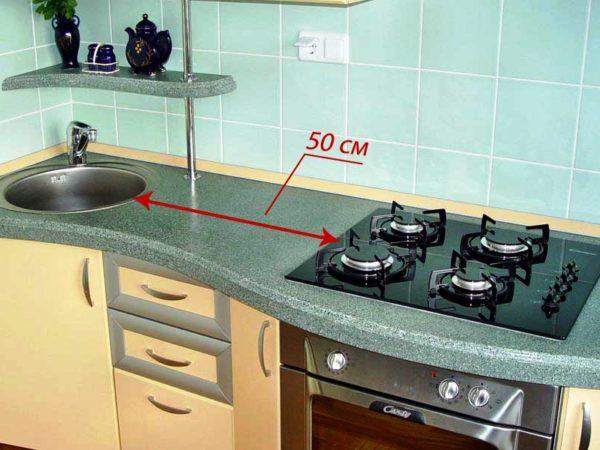 Расстояние между плитой и мойкой должно быть не менее 50 сантиметров!