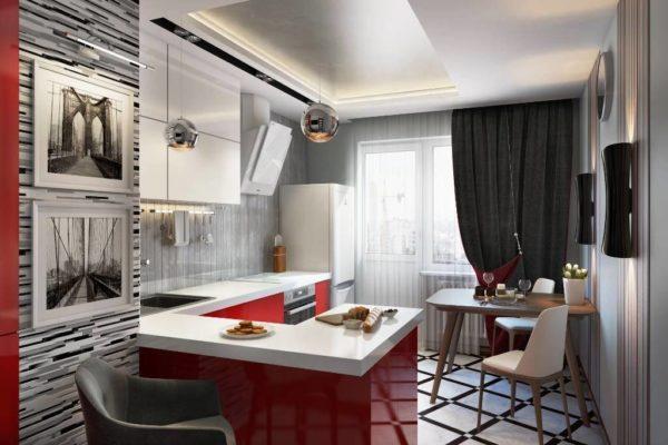 Красный цвет в сочетании с белым сделает яркий контраст в дизайне кухни в стиле хай-тек