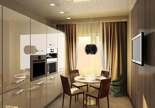 Шторы на кухне в стиле хай-тек должны быть холодных нейтральных оттенков