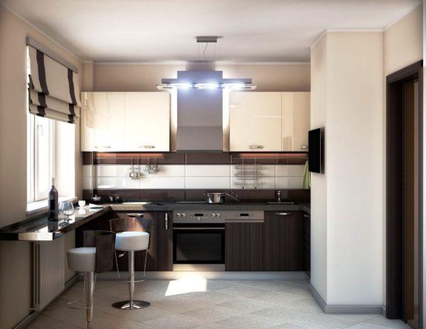 Встроенная кухонная мебель одна из основных черт стиля хай-тек