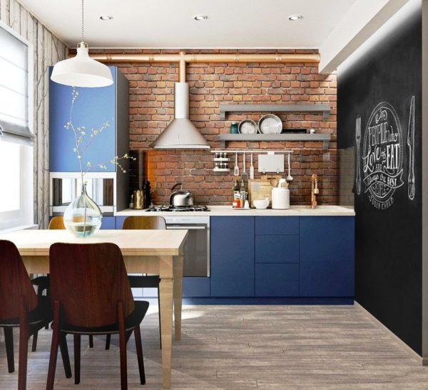 На этом фото вы видите дизайн маленькой кухни 6 кв. м в стиле лофт