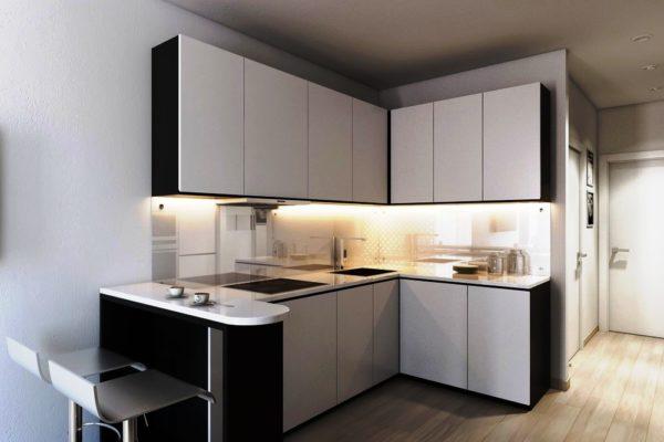 Стиль минимализм на малогабаритной кухне часто переходит в стиль хай-тек