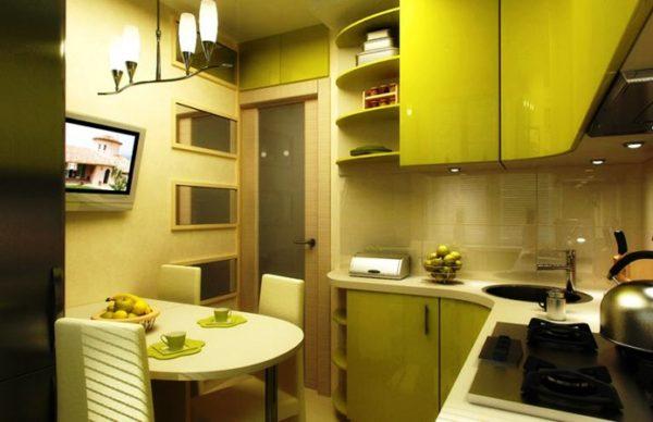 Еще фото дизайна кухни 6 кв. м в оливковом цвете