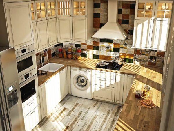 Данная планировка позволяет разместить на теснойй кухне максимум техники и мебели для большого количества кухонных принадлежностей