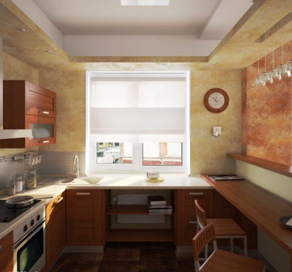 В П-образной планировке кухни с маой площадью задействуется три смежных стены