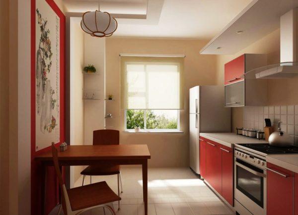 Использование одной стены в однорядной планировке тесной кухни, позволяет расположить обеденный стол у противоположной стены