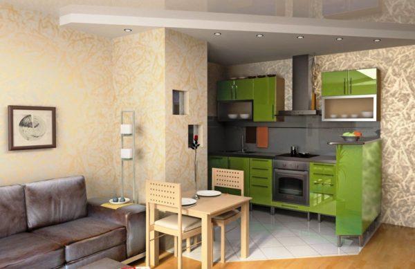 Еще одно фото дизайна маленькой кухни, соединенной с гостинной