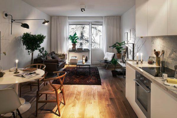 Фото дизайна кухни и гостинной, объединенных в одном интерьере в маленькой квартире студии