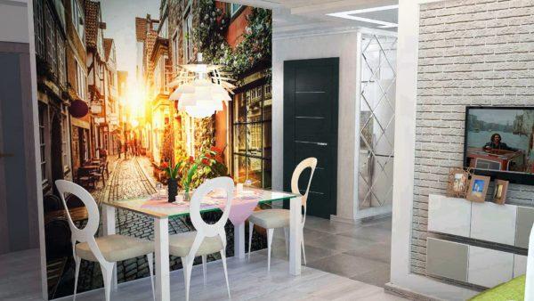 Еще один лайфхак в дизайне маленькой кухни - фотообои у обеденной зоны