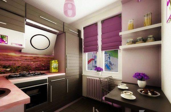 Холодильник, отделанный под цвет гарнитура, отлично впишется в интерьер кухни гостиной с малой площадью