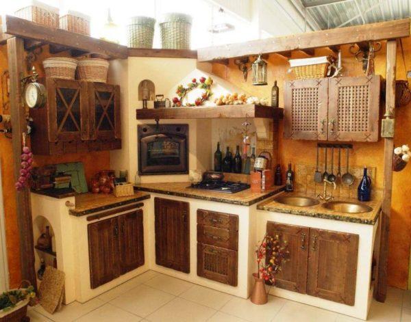 Фото дизайна интерьера дачной кухни в стиле кантри