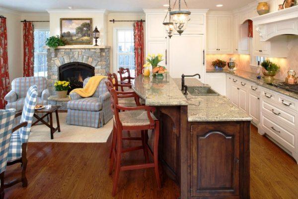 Дизайн интерьера кухни объединенной с гостинной