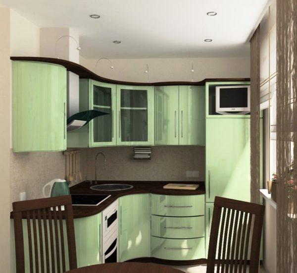 В дизайн проекте маленькой кухни важно учитывать расстановку мебели
