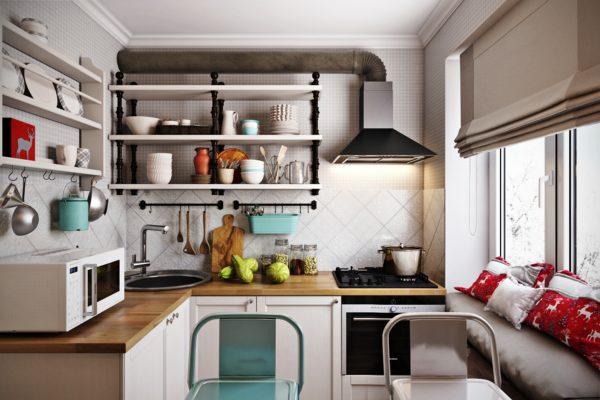 На этом фото показан интересный дизайн небольшой кухни с открытыми полками,которые визуально увеличивают пространство и придают уют