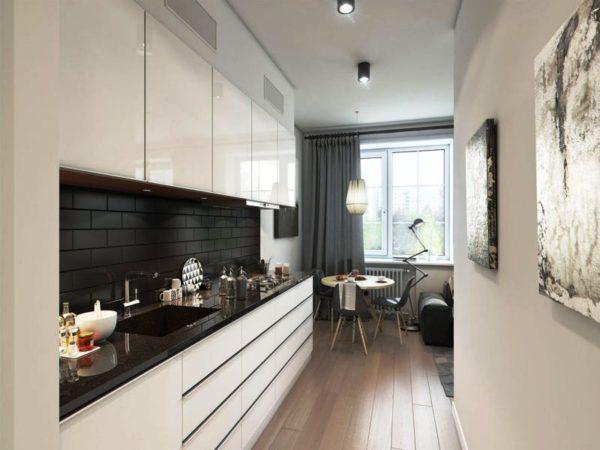 Цветовое решение на маленькой узкой кухне имеет огромное значение при проектировании дизайна