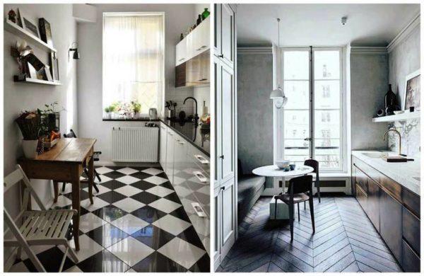 Однорядная планировка на тесной кухне создает больше пространства и места для отдельно стоящего обеденного стола