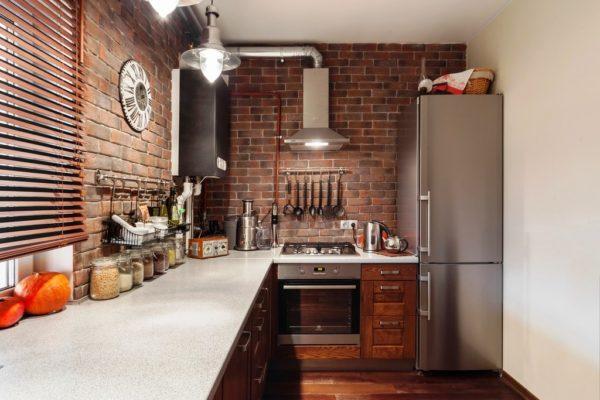 Дизайн кухни с малой площадью в стиле лофт