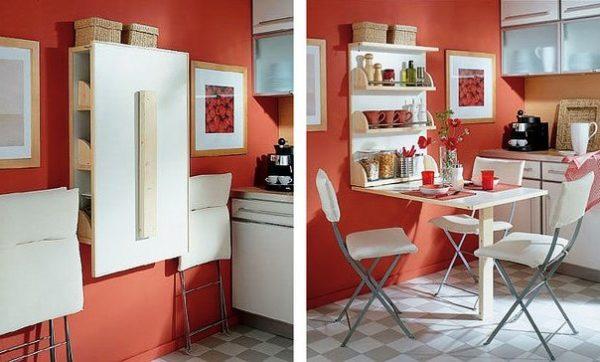 Очень хорошая идея - складная мебель на кухне площадью 5 квадратных метров