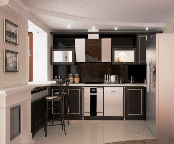 Еще фото интересного дизайна малогабаритной кухни 5 м кв. совмещенной с жилой площадью