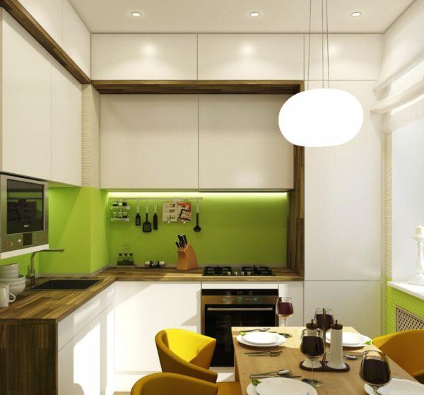 Г-образное размещение мебели - самый оптимальный вариант в дизайне тесной кухни 5 кв. м