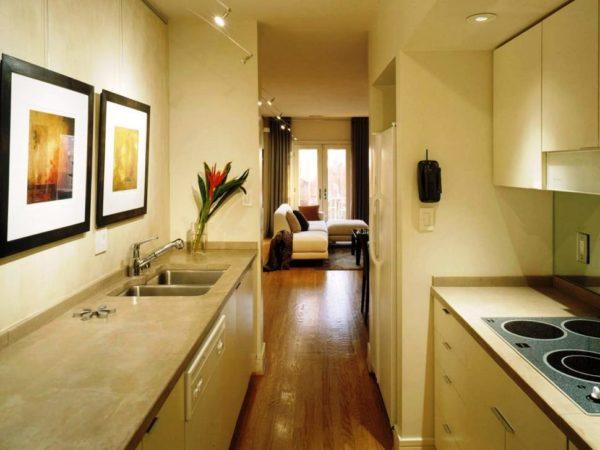 Вы можете расположить всю мебель на кухне в два ряда - это усовершенствованный вариант П-образной кухни, вся мебель будет располагаться с двух противоположных сторон