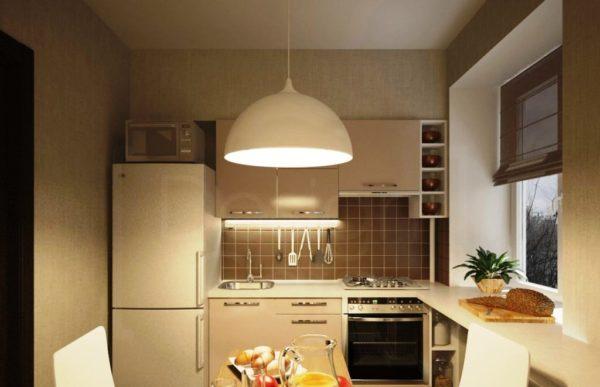 Г-образная планировка поможет сэкономить площадь тесной кухни