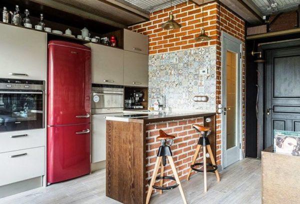 Дизайн малогабаритной кухня объединенной с жилой площадью в стиле лофт