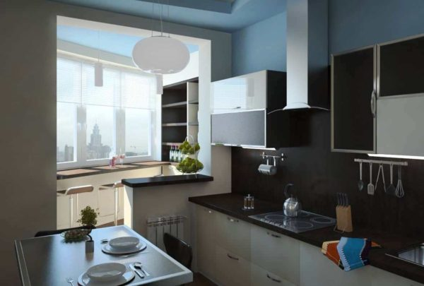 На этом фото красивый дизайн кухни объединенной с лоджией