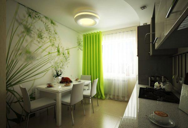 Интересно смотрятся фотообои в дизайне стен малогабаритной кухни 7 м кв.