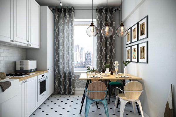 Малогабаритная кухня 7м кв. в скандинавском стиле отличается чистотой и прохладой