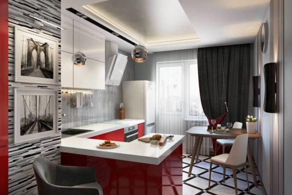 Дизайн кухни 7 кв. м в стиле хай тек отличается строгостью и холодными цветами