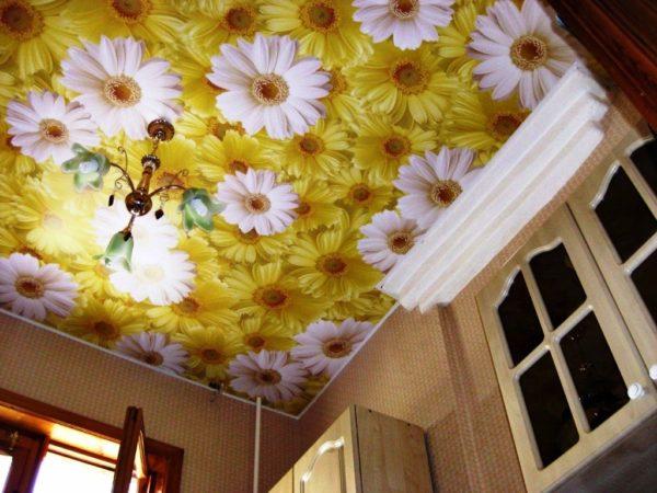Вот такие фотообои с ромашками на потолке очень интересное дизайнерское решение