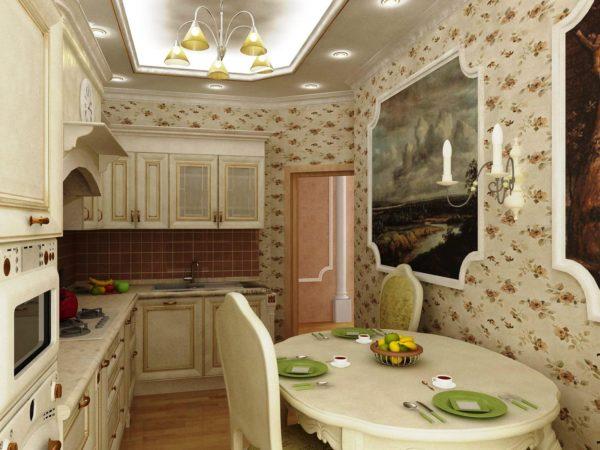Для малогабаритной кухни в классическом стиле подойдут виниловые обои