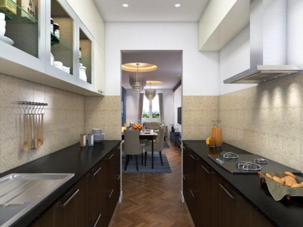 Двухрядная планировка хорошо подходит для узкой длинной кухни