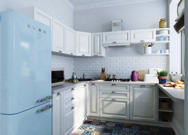 Прохладно и легко будет на малогабаритной кухне в скандинавском стиле
