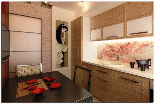Оригинальный дизайн японского стиля украсит вашу маленькую кухню