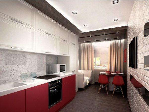 В интерьере маленькой кухни в стиле минимализм нет ничего лишнего
