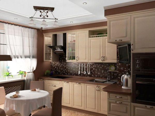 Фото интерьера небольшой кухни в бежево-коричневом цвете