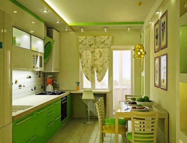 Малогабаритная кухня в зеленом цвете в стиле модерн