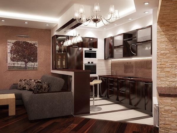 зонирование кухне гостиной дизайн