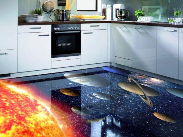 Наливной пол для маленькой кухни