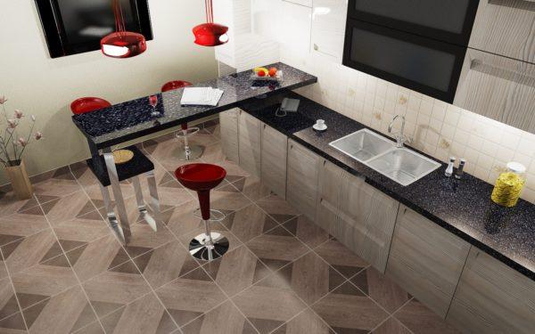 Керамическая плитка - самый популярный отделочный материал для кухонного пола