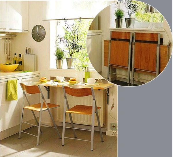 Главная цель установки раскладного, складного или откидного стола – сделать пребывание на маленькой кухне максимально комфортным