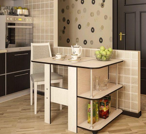 Простой в управлении и практичный раскладной стол-книжка в интерьере кухни в стиле модерн