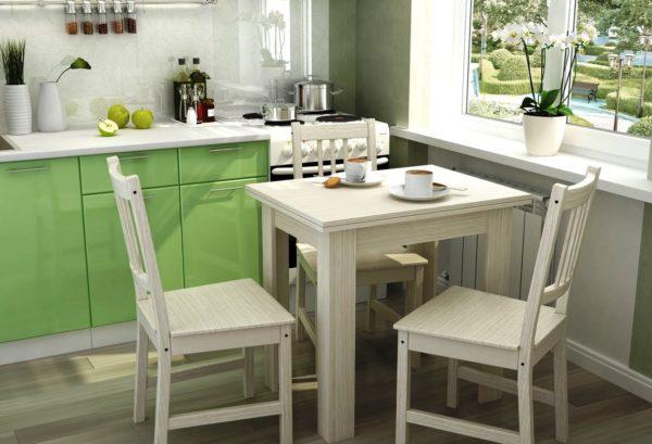 Столы и стулья для маленькой кухни подбираются с учетом свободного пространства, особенностей меблировки и планировки помещения, т.е в соответствии общему интерьерному решению