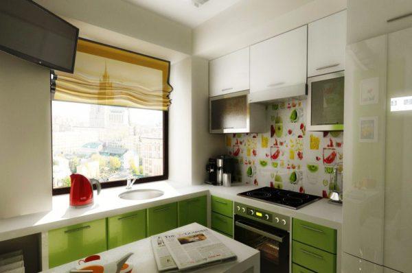 Интересное дизайнерское решение оформления кухни в хрущевке