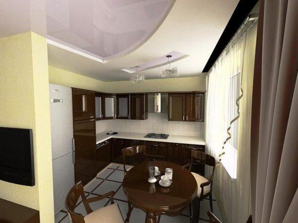 Дизайн интерьера кухни студии в хрущевке
