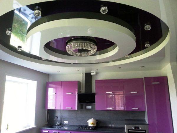Декор потолка на кухне 5