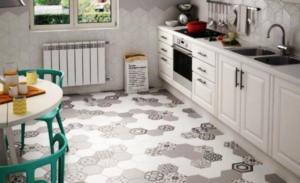 Керамическая плитка - удобный и практичный вариант напольного покрытия для кухни