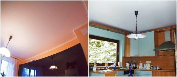 Окрашенный потолок на кухне